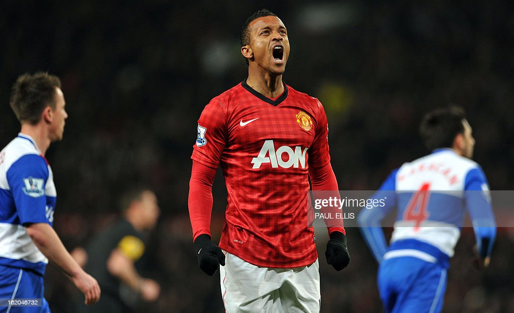 "Manchester United's Portuguese midfielder Nani reacts after missed opportunity during the English FA Cup fifth round football match between Manchester United and Reading at Old Trafford in Manchester, north west England, on February 18, 2013. USE. No use with unauthorized audio, video, data, fixture lists, club/league logos or ""live"" services. Online in-match use limited to 45 images, no video emulation. No use in betting, games or single club/league/player publications."