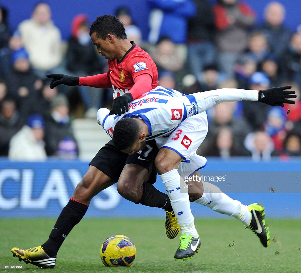 "Manchester United's Portuguese midfielder Nani (L) vies with Queens Park Rangers' Moroccan midfielder Adel Taarabt during the English Premier League football match between Queens Park Rangers and Manchester United at Loftus Road in London on February 23, 2013. USE. No use with unauthorized audio, video, data, fixture lists, club/league logos or ""live"" services. Online in-match use limited to 45 images, no video emulation. No use in betting, games or single club/league/player publications"