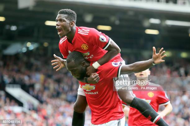 Manchester United's Romelu Lukaku celebrates scoring his side's second goal of the game with team mate Paul Pogba during the Premier League match at...
