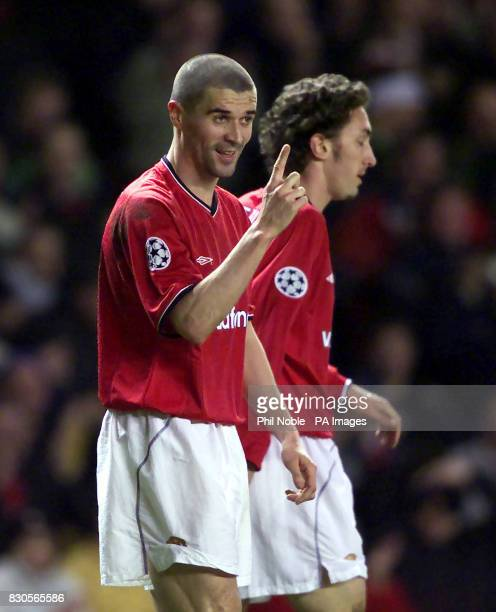 LEAGUE Manchester United's Roy Keane celebrates after scoring against SK Sturm Graz during the Champions League Group A game at Old Trafford...
