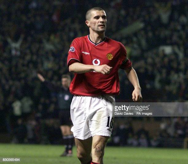 LEAGUE Manchester United's Roy Keane celebrates scoring the third goal against SK Sturm Graz during the Champions League Group A game at Old Trafford...