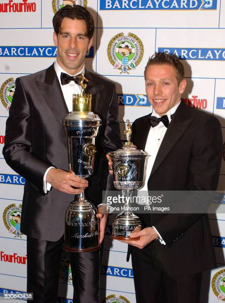 Manchester United's Ruud van Nistelrooy with the PFA Player of the Year Award and Newcastle's Craig Bellamy with the Young Player of the Year award...
