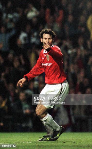 Manchester United's Ryan Giggs celebrates his 90th minute equalizer during the UEFA Champions League 1st Leg Semi Final against Juventus at Old...