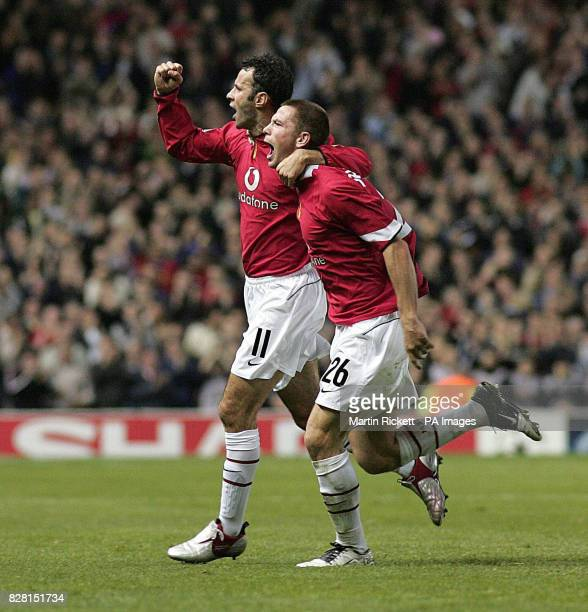 Manchester United's Ryan Giggs celebrates his goal against Benfica with Phil Bardsley during the UEFA Champions League match at Old Trafford...