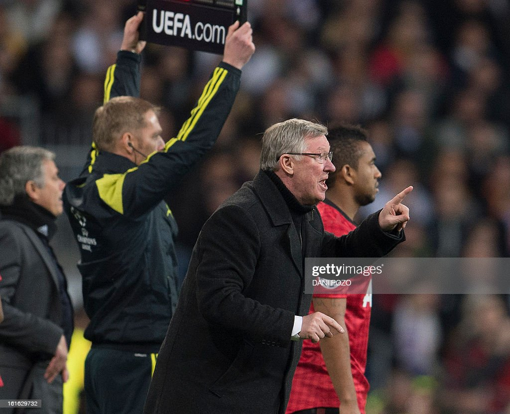 Manchester United's Scottish manager Alex Ferguson reacts during the UEFA Champions League round of 16 first leg football match Real Madrid CF vs Manchester United FC at the Santiago Bernabeu stadium in Madrid on February 13, 2013. The match ended in a 1-1 draw.