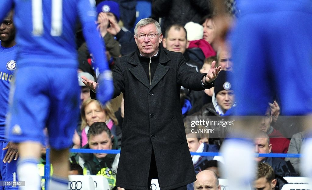 "Manchester United's Scottish manager Sir Alex Ferguson gestures to his players during their English FA Cup quarter final replay football match against Chelsea at Stamford Bridge in London, England on April 1, 2013. Chelsea won 1-0. AFP PHOTO/GLYN KIRK RESTRICTED TO EDITORIAL USE. No use with unauthorized audio, video, data, fixture lists, club/league logos or ""live"" services. Online in-match use limited to 45 images, no video emulation. No use in betting, games or single club/league/player publications."