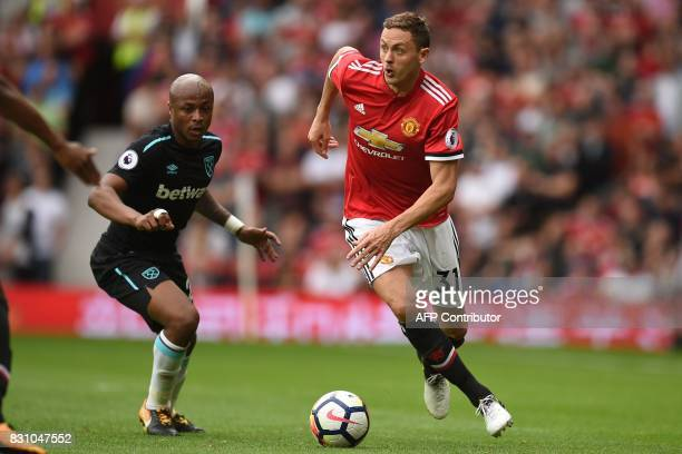 Manchester United's Serbian midfielder Nemanja Matic controls the ball during the English Premier League football match between Manchester United and...