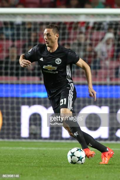Manchester United's Serbian midfielder Nemanja Matic in action during the UEFA Champions League football match SL Benfica vs Manchester United at the...