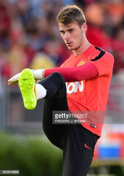 Manchester United's Spanish goalkeeper David de Gea kicks the ball during a training session at the Rose Bowl in Pasadena California on July 22 where...