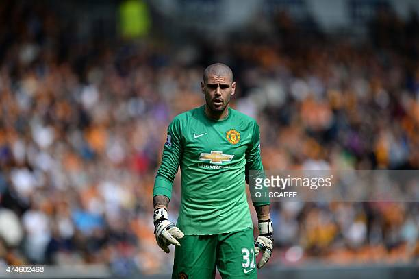Manchester United's Spanish goalkeeper Victor Valdes plays during the English Premier League football match between Hull City and Manchester United...