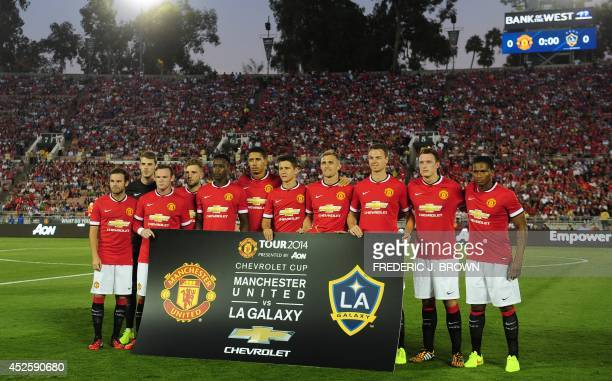Manchester United's starting eleven players pose for a team photo ahead of kickoff againstthe LA Galaxy during their Chevrolet Cup match at the Rose...