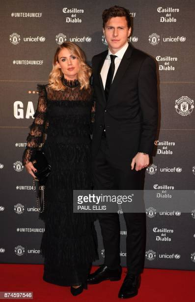 Manchester United's Swedish defender Victor Lindelof and Maja Nilsson pose on the red carpet as they arrive to attend the 'United for UNICEF Gala...