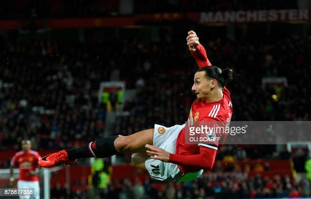 TOPSHOT Manchester United's Swedish striker Zlatan Ibrahimovic attempts a bicycle kick shot which was saved during the English Premier League...