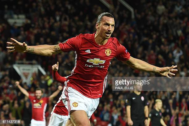 Manchester United's Swedish striker Zlatan Ibrahimovic celebrates scoring his team's first goal during the UEFA Europa League group A football match...