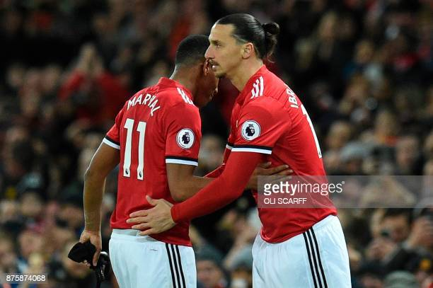 Manchester United's Swedish striker Zlatan Ibrahimovic comes on as a substitute during the English Premier League football match between Manchester...