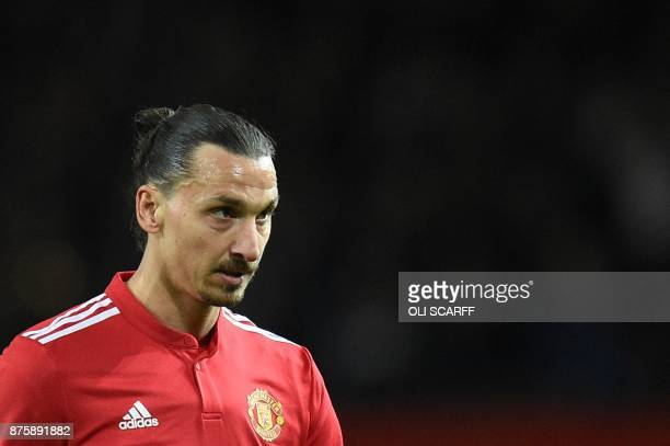 Manchester United's Swedish striker Zlatan Ibrahimovic leaves the pitch at the end of the English Premier League football match between Manchester...