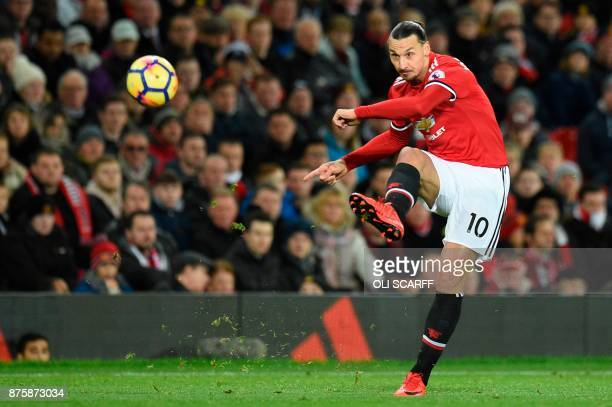 TOPSHOT Manchester United's Swedish striker Zlatan Ibrahimovic plays the ball during the English Premier League football match between Manchester...
