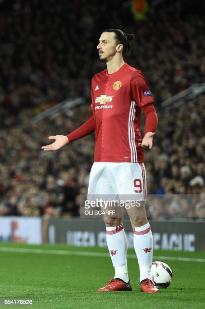 Manchester United's Swedish striker Zlatan Ibrahimovic reacts after a stoppage during the UEFA Europa League round of 16 secondleg football match...