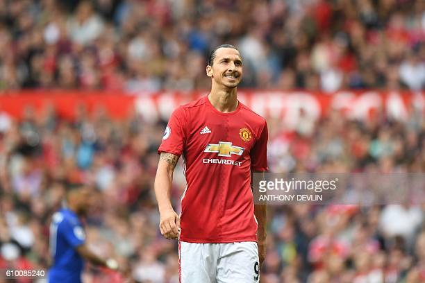 Manchester United's Swedish striker Zlatan Ibrahimovic reacts during the English Premier League football match between Manchester United and...