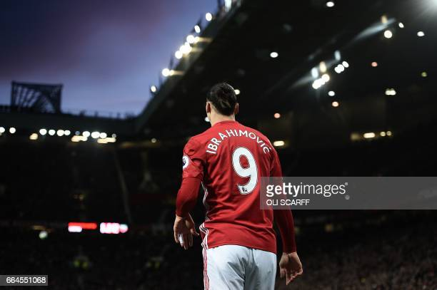Manchester United's Swedish striker Zlatan Ibrahimovic reacts during the English Premier League football match between Manchester United and Everton...