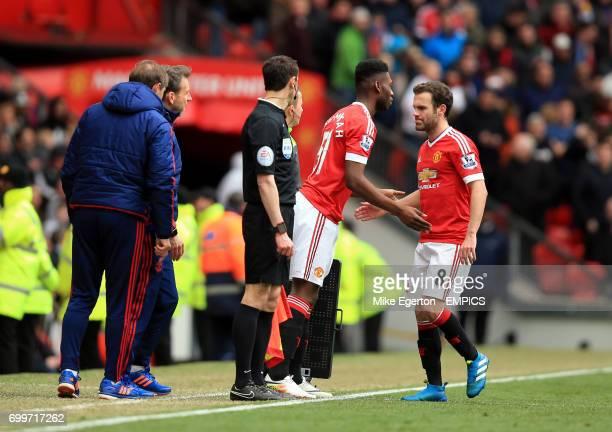 Manchester United's Timothy FosuMensah replaces Juan Mata