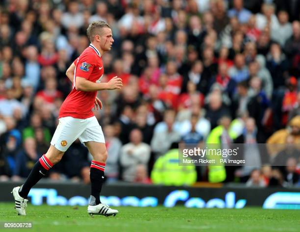 Manchester Uniteds Tom Cleverley is cut during the Barclays Premier League match at Old Trafford Manchester