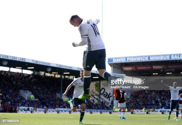 Manchester United's Wayne Rooney celebrates scoring his side's second goal of the game during the Premier League match at Turf Moor Burnley