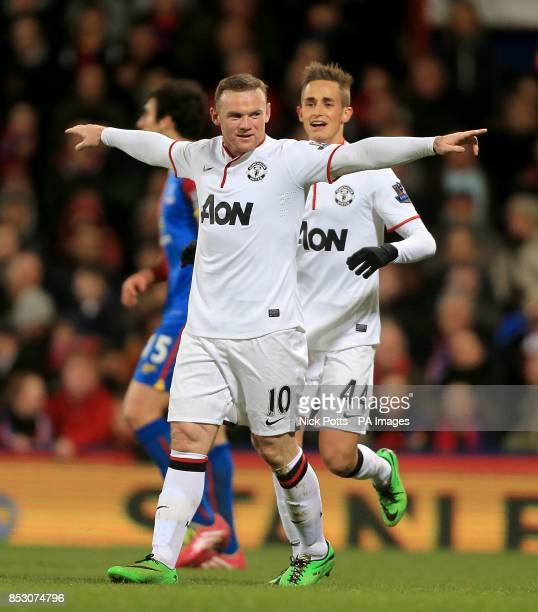 Manchester United's Wayne Rooney celebrates scoring his side's second goal with teammate Adnan Januzaj