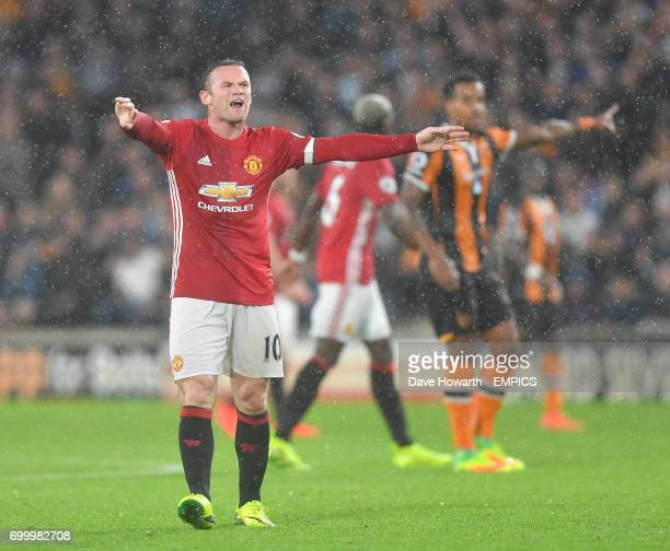Manchester United's Wayne Rooney protests