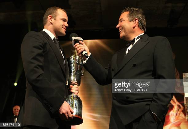 Manchester United's Wayne Rooney with his PFA Players Player of the Year award speaks to Jeff Stelling at the PFA Player of the Year Awards 2010 at...