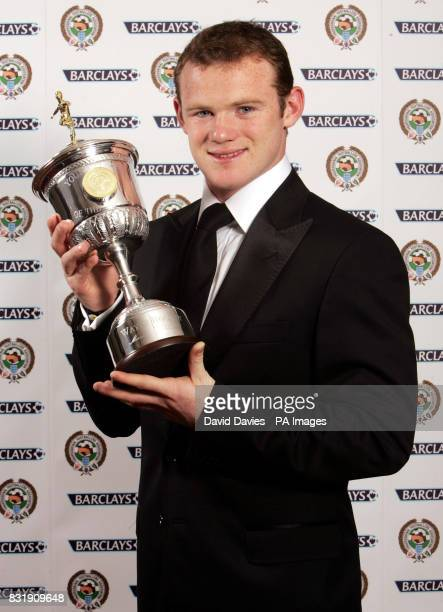 Manchester United's Wayne Rooney with the PFA Young Player of the Year Award he received at the Grosvenor House Hotel London