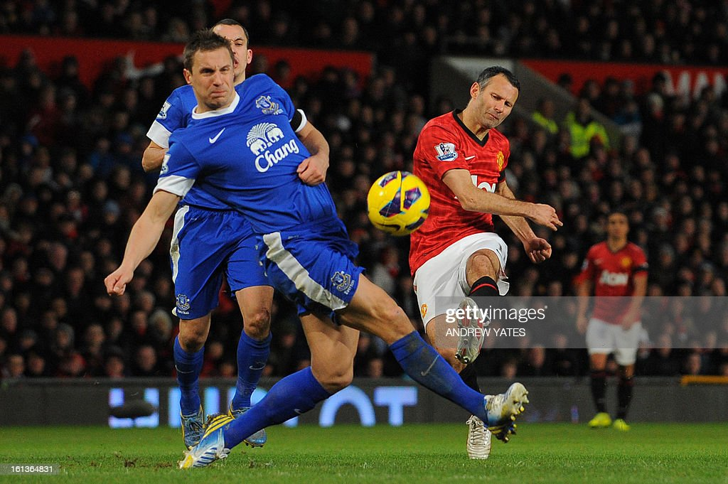 """Manchester United's Welsh midfielder Ryan Giggs (R) has his shot blocked by Everton's English defender Phil Jagielka (L) during the English Premier League football match between Manchester United and Everton at Old Trafford, Manchester, North West England, on February 10, 2013. USE. No use with unauthorized audio, video, data, fixture lists, club/league logos or """"live"""" services. Online in-match use limited to 45 images, no video emulation. No use in betting, games or single club/league/player publications."""