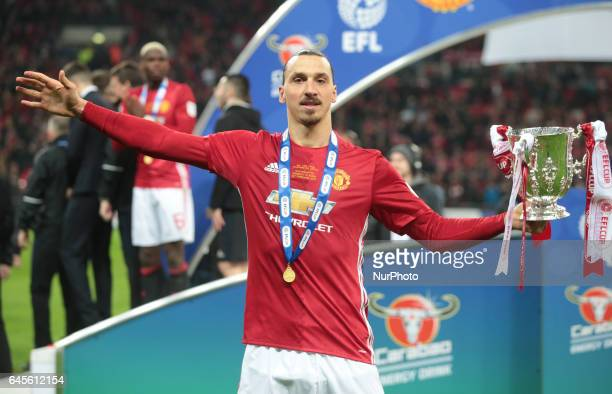 Manchester United's Ziatan Ibrahimovic with Trophy during the EFL Cup Match between Manchester United and Southampton on February 26 at the Wembley...