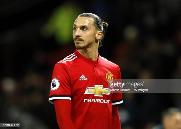 Manchester United's Zlatan Ibrahimovic after the final whistle during the Premier League match at Old Trafford Manchester