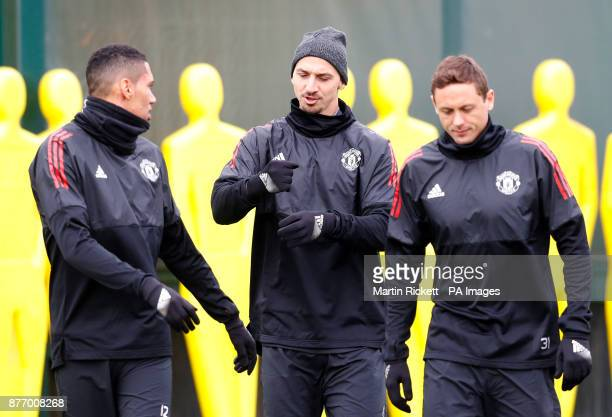 Manchester United's Zlatan Ibrahimovic and Manchester United's Nemanja Matic during the training session at the AON Training Complex Carrington