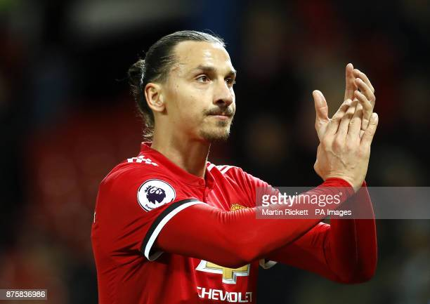 Manchester United's Zlatan Ibrahimovic applauds fans after the final whistle during the Premier League match at Old Trafford Manchester
