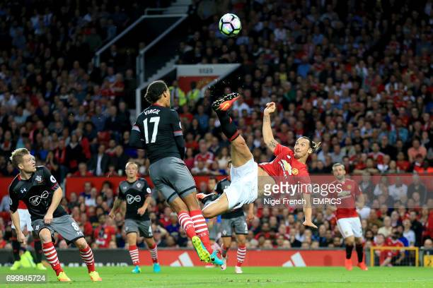 Manchester United's Zlatan Ibrahimovic attempts an overhead kick