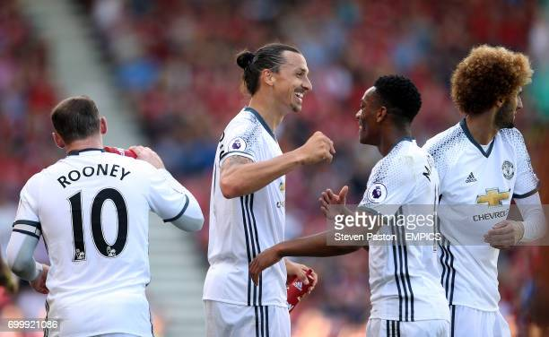 Manchester United's Zlatan Ibrahimovic celebrates scoring his side's third goal of the game