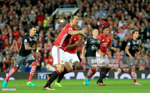Manchester United's Zlatan Ibrahimovic celebrates scoring his side's second goal of the game