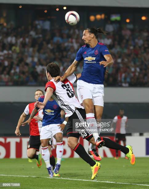 Manchester United's Zlatan Ibrahimovic directs a header towards goal