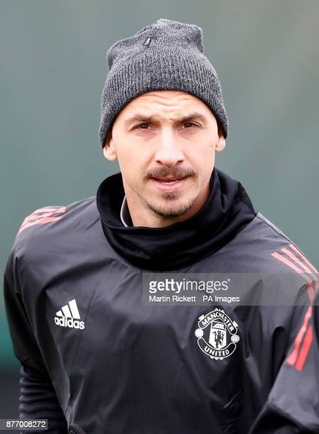 Manchester United's Zlatan Ibrahimovic during the training session at the AON Training Complex Carrington