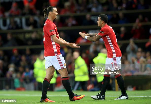 Manchester United's Zlatan Ibrahimovic is substituted for teammate Memphis Depay
