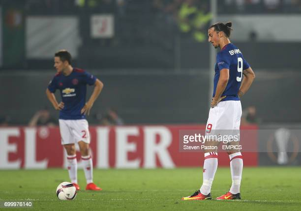 Manchester United's Zlatan Ibrahimovic looks dejected after Feyenoord score the first goal