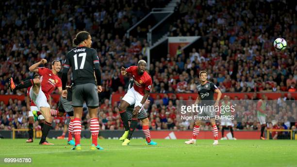 Manchester United's Zlatan Ibrahimovic scores his side's first goal of the game
