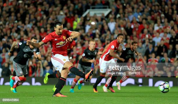 Manchester United's Zlatan Ibrahimovic scores his side's second goal of the game from the penalty spot
