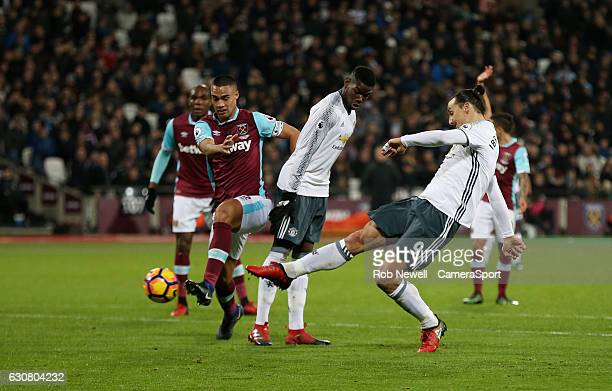 Manchester United's Zlatan Ibrahimovic scores his sides second goal during the Premier League match between West Ham United and Manchester United at...