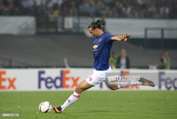 Manchester United's Zlatan Ibrahimovic takes a freekick late in the game
