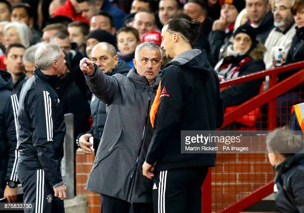 Manchester United's Zlatan Ibrahimovic with manager Jose Mourinho on the touchline during the Premier League match at Old Trafford Manchester