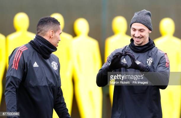 Manchester United's Zlatan Ibrahimovich during the training session at the AON Training Complex Carrington