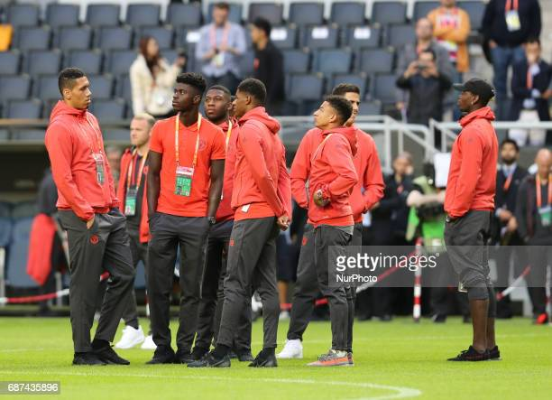Manchester Untied during a walk around The Friends Arena ahead of the UEFA Europa League Final between Ajax and Manchester United at Friends Arena on...